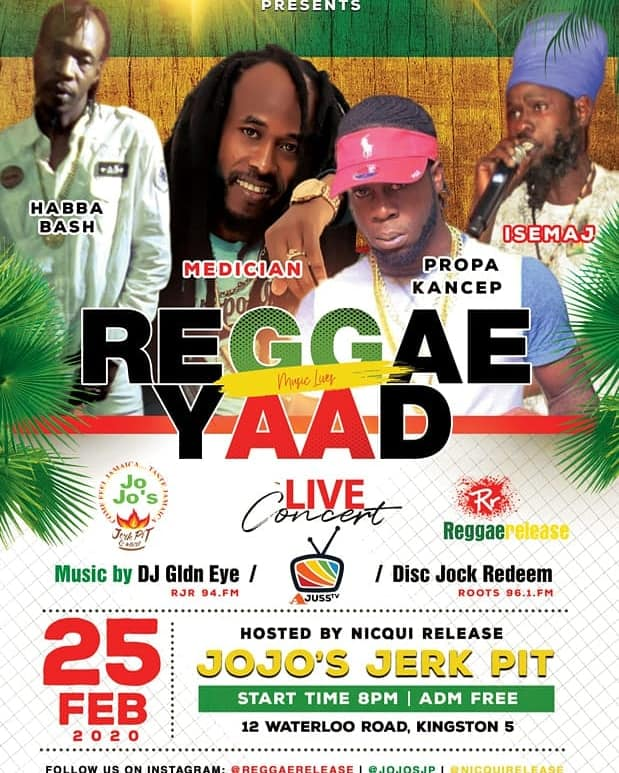 Reggae Yaad happens every tuesday at Jo Jo Jerk Pit in Kingston, Jamaica.